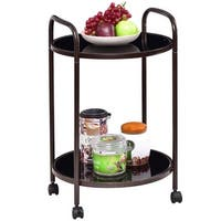 Costway 2-Tier Round Rolling Kitchen Trolley Serving Cart Dining Bar Storage Utility - as pic