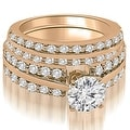 2.35 cttw. 14K Rose Gold Two Row Round Cut Diamond Bridal Set - Thumbnail 0
