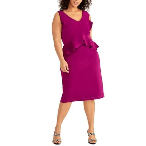 Rachel Rachel Roy Womens Dresses Purple Size 16W Plus Sheath Ruffled