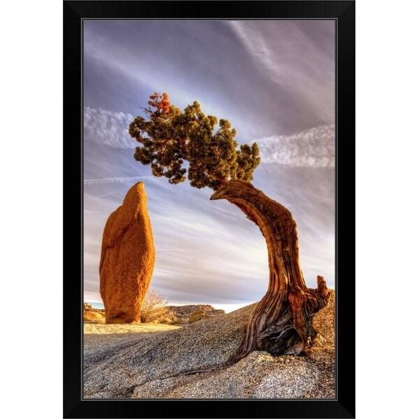 """Balance rock and bonzai tree"" Black Framed Print"
