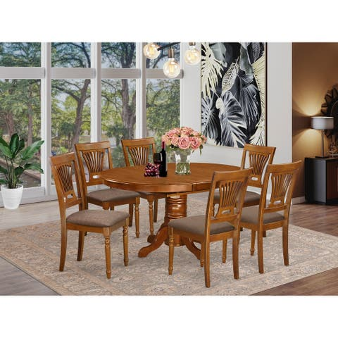 7-piece Kitchen Set Including 1 Oval Dinette Table with Leaf and 6 Dining Chairs in Saddle Brown Finish (Pieces Option)