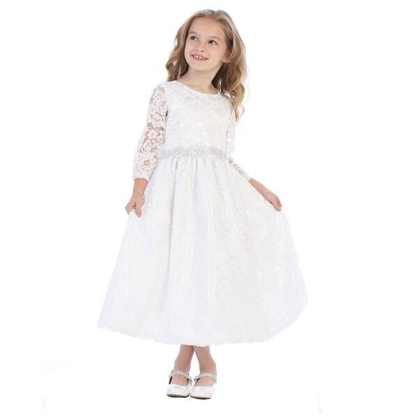 Shop girls white silver corded floral trim lace flower girl girls white silver corded floral trim lace flower girl communion dress mightylinksfo