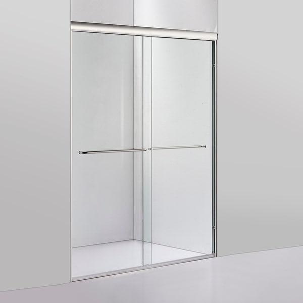 "Reggio 48"" W x 76"" H Sliding Frameless Shower Door in Brushed Nickel - 48"" W x 76"" H. Opens flyout."