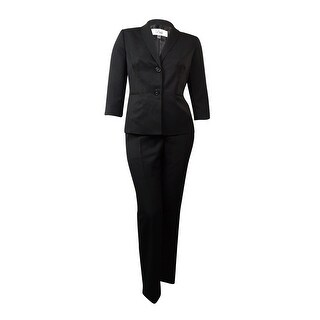 Le Suit Women's The Hamptons Tonal Striped Pant Suit - Black - 18