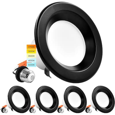 """Luxrite 4"""" LED Recessed Can Lights 10W=60W 5 Color Selectable Dimmable Retrofit Downlights Wet Rated Black Trim 4 Pack"""