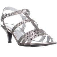 KS35 Alixa Rhinestone Strappy Sandals, Pewter