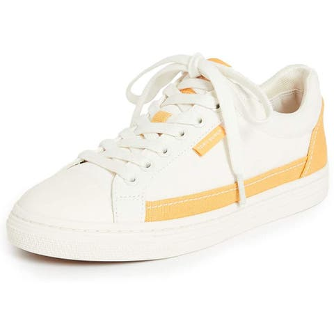 Tory Burch Court Sneakers Curry Yellow Ivory White Flats