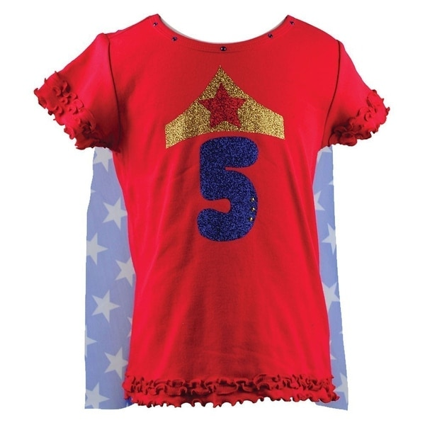 Shop Reflectionz Little Girls Red Wonder Girl Star Birthday Cape T Shirt 2T 6
