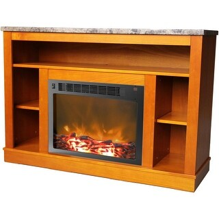 Cambridge Seville CAM5021-1TEK Fireplace Mantel with Electronic Fireplace Insert, Teak