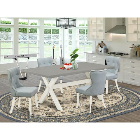 Kitchen Dining Set - Dining Chairs with Baby Blue Linen Fabric Seat and Button Tufted Back (Number of Chair and Bench Option)