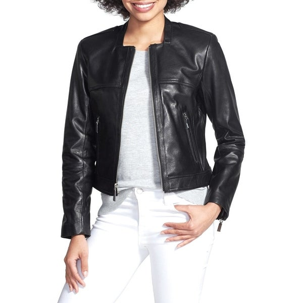 3a39ec3b6 Vince Camuto Collarless Front Zip Leather Cropped Moto Jacket Black