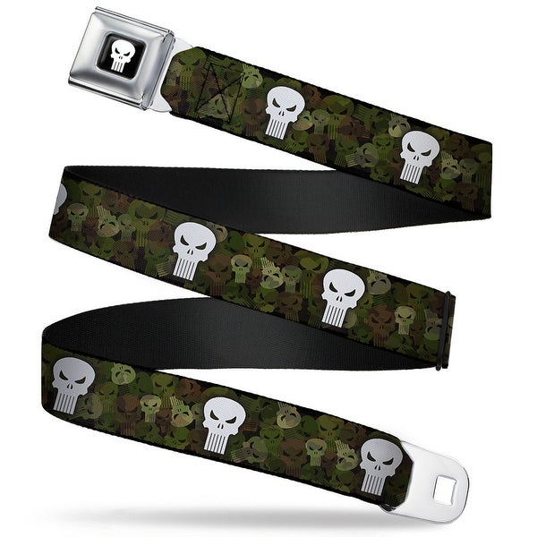 Marvel Universe Punisher Logo Full Color Black White Punisher Logo Stacked Seatbelt Belt