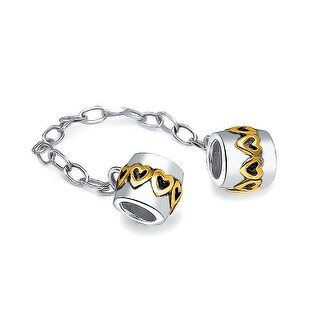 Bling Jewelry Safe Heart Love Chain Cuff Bead Charm Gold Plated .925 Sterling Silver