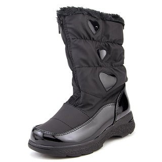 Tundra Hearty Youth Round Toe Synthetic Black Snow Boot