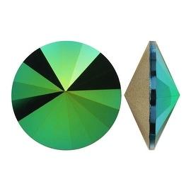Swarovski Crystal, 1122 Rivoli Fancy Stones 12mm, 4 Pieces, Crystal Scarabaeus Green Foiled