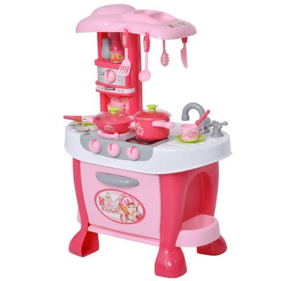 Qaba Kids Kitchen Play Set Pretend Toy Children Role Play Game Toy with Light & Sound Function 38Pcs Toy Accessories - Pink