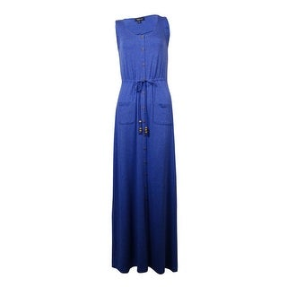 Spense Women's Pocket Belted Buttoned Maxi Dress