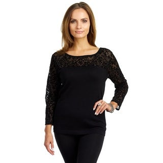 August Silk Women's Abbreviated Sleeve Boat Neck Top