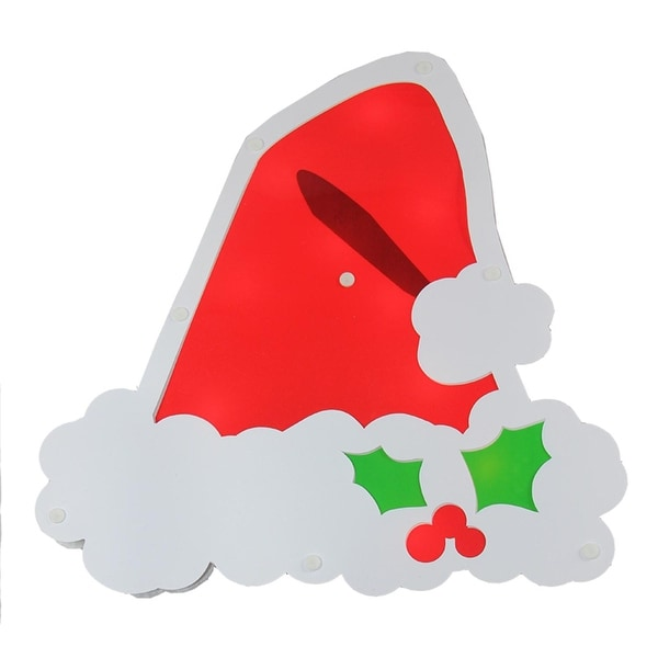 """12.5"""" Lighted Santa Hat with Holly Berries Window Silhouette Decoration - RED"""