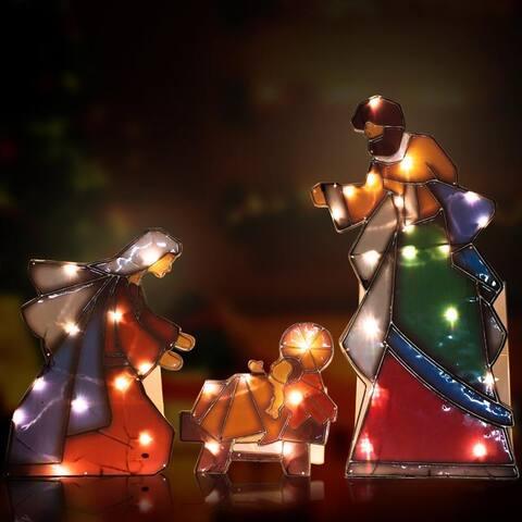 Holy Family Lighted Indoor/Outdoor Mosaic Nativity Christmas Scene 3 Piece Set, Baby Jesus, Mary and Joseph