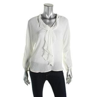 Zara Basic Womens Sheer V-Neck Blouse - S