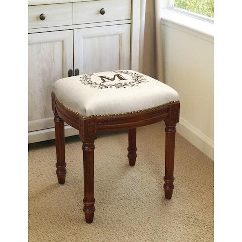 Monogram Victorian Traditional Chestnut Foam/Linen/Wood Vanity Stool