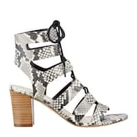 Marc Fisher Womens Patsey2 Leather Open Toe Casual Strappy Sandals - white multi leather - 9