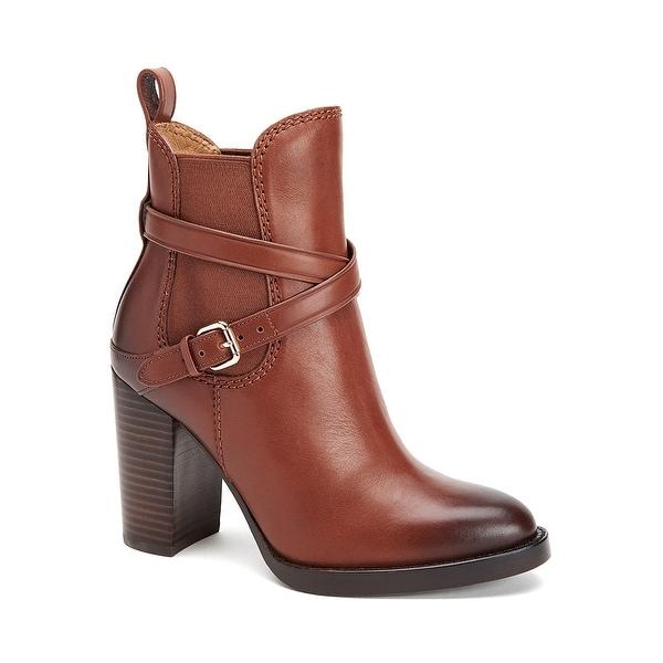 05581fd4cc826 Coach Jackson Leather Block Heel Ankle Boots Shoes Dark Saddle - 7 b(m)