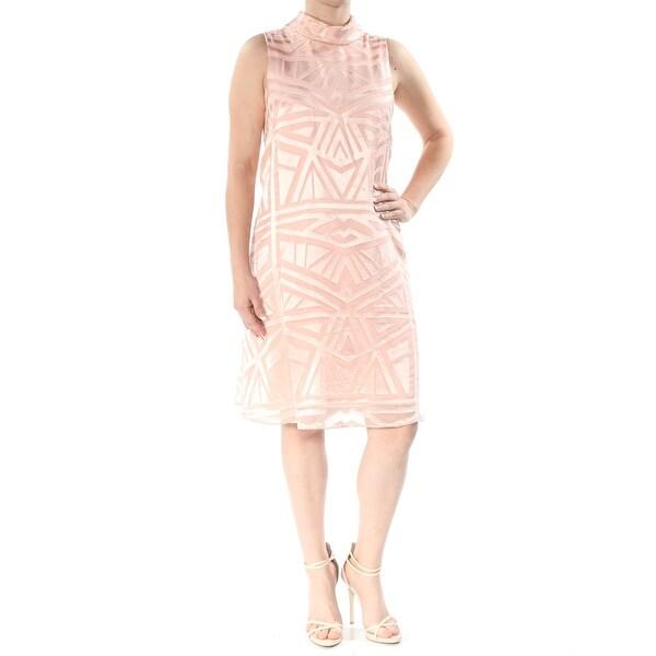 VINCE CAMUTO Womens Pink Sheer Geometric Sleeveless Turtle Neck Below The Knee Sheath Evening Dress Size: 6