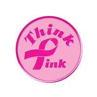 """Club Pack of 12 """"Think Pink"""" Breast Cancer Awareness Ribbon Buttons 3.5"""""""