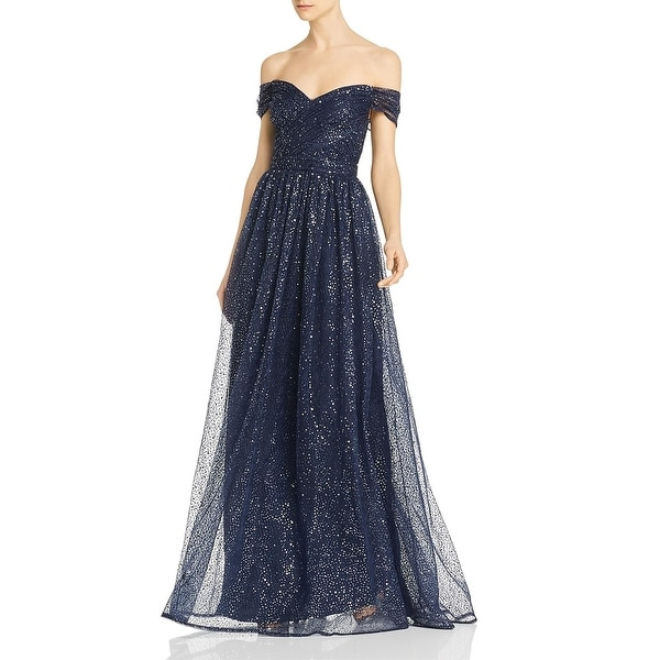 Aidan Mattox Womens Grecian Evening Dress Off-The-Shoulder Sequined - Twilight. Opens flyout.