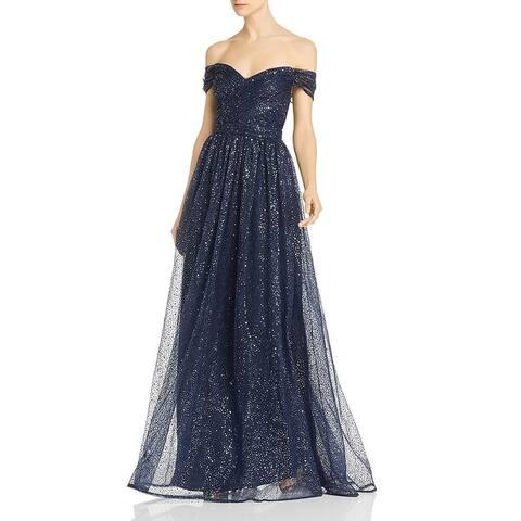 Aidan Mattox Womens Grecian Evening Dress Off-The-Shoulder Sequined - Twilight