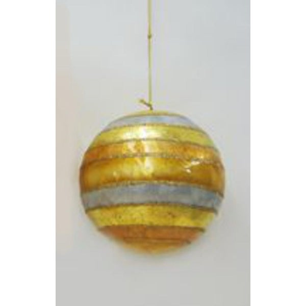 "4"" Capiz Shell Gold, Silver and White Glitter Striped Christmas Ball Ornament"