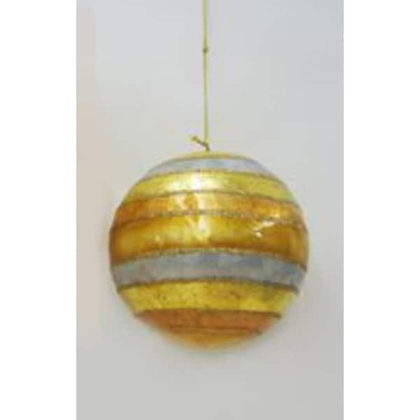 "4"" Capiz Shell Gold, Silver and White Glitter Striped Christmas Ball Ornament - GOLD"
