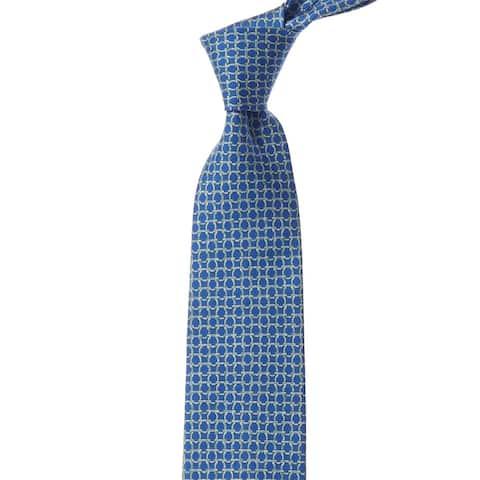 Salvatore Ferragamo Blue & Green Gancini Silk Tie - NoSize
