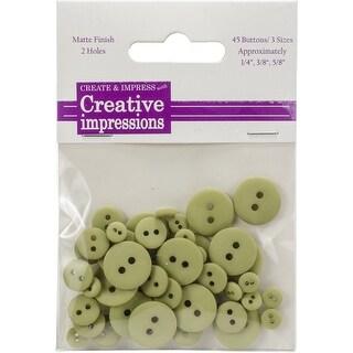 """Creative Impressions Resin Button Assortment 45/Pkg-Moss 15 Each .25"""", .375"""" & .675"""""""