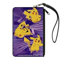 3 Pikachu Poses Abstract Purples Canvas Zipper Wallet