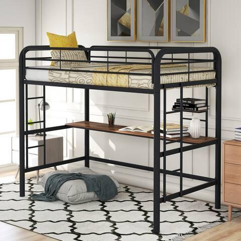 Nestfair Twin Metal Loft Bed with Desk and Shelve