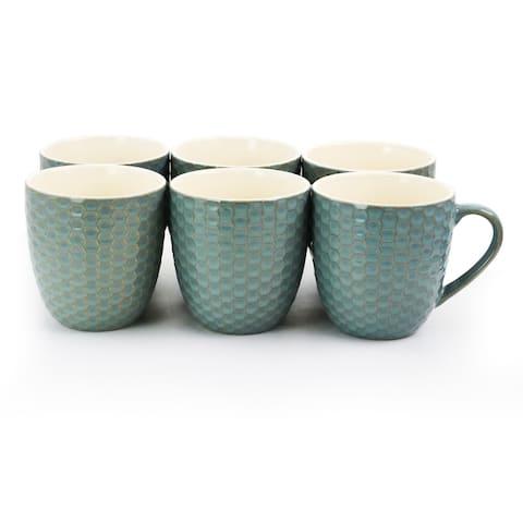 Elama Honeycomb 6 Piece 15 oz. Mug Set in Turquoise