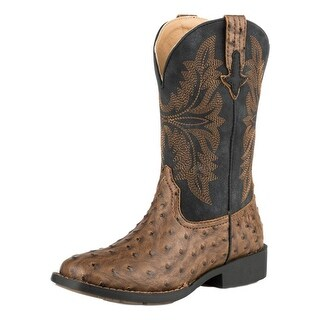 Roper Western Boots Boys Jed Ostrich Brown Black