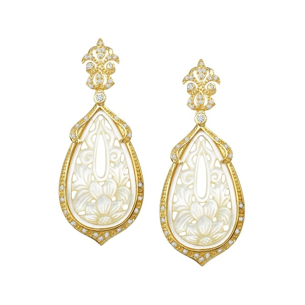 Shop Cristina Sabatini Natural Mother Of Pearl Floral Drop