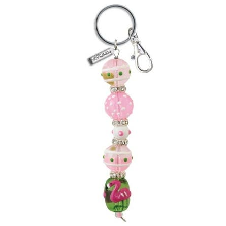Flamingo Dahling Tropical Rhinestone Glass Beaded Kate and Macy Keychain