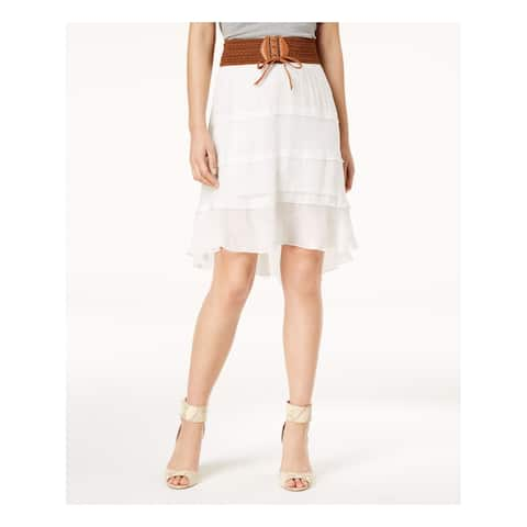 BCX Womens White Lace Up Faux Belt Tiered Above The Knee Skirt Size: L