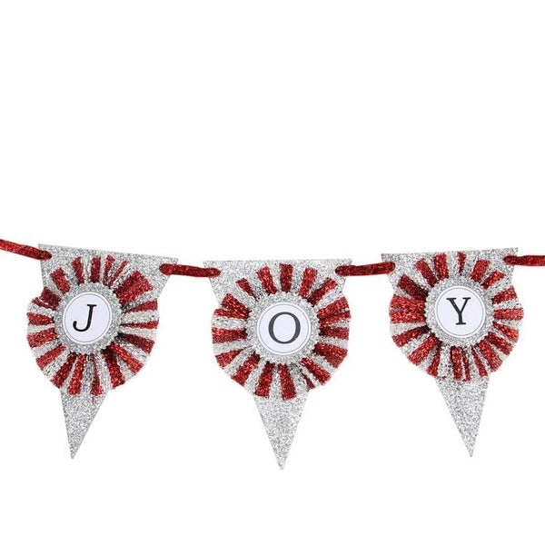 "24"" Silver and Red Glittering ""Joy"" Pennant Christmas Banner"