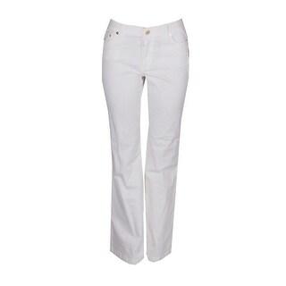 Michael Michael Kors White Selma Denim High-Rise Flare Jeans