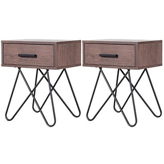 Link to Gymax 2PC Nightstand Side End Coffee Table Storage Display Steel Hairpin Legs with Drawer - as pic Similar Items in Bedroom Furniture