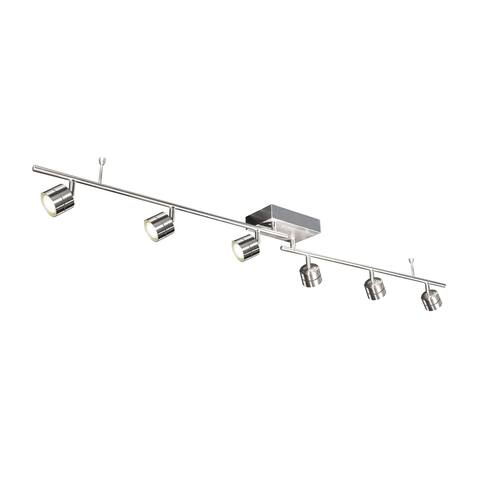 Core 6-light Satin Nickel LED Fixed Rail, Satin Nickel Steel Shade - Satin Nickel