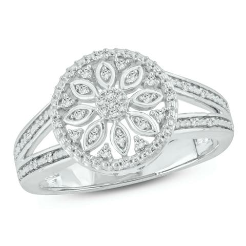 Cali Trove 1/10 Ct Round Diamond Floral Fashion Ring In Sterling Silver.
