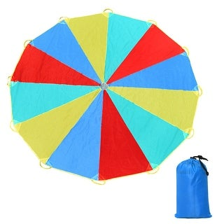 Costway 12 FT Folded Play Parachute for Kids 12 Resistant-Handles Indoor Outdoor Game - red, yellow, blue and green