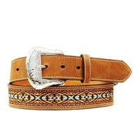 Nocona Western Belt Mens Ribbon Inlay Southwest Brown